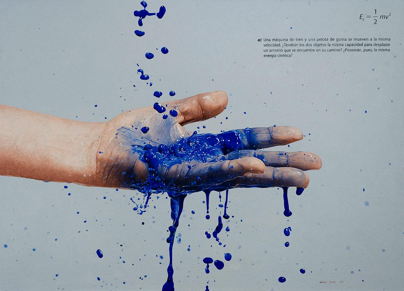 """MA, blavet, a)"" 2008 Acrílico, polvo de marmol y óleo s/tela 72 x 100 cm"