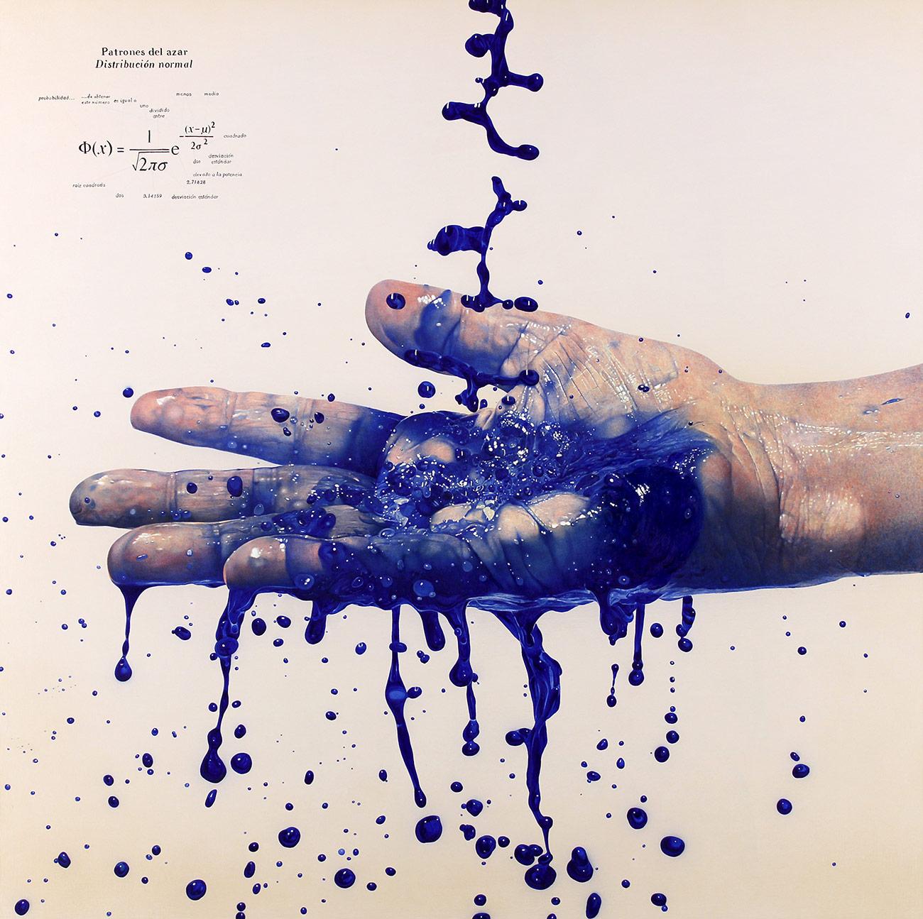 """""""Patrones del azar"""" 2013 Acrílico, óleo y polvo de marmol s/tela 150 x 150 cm"""