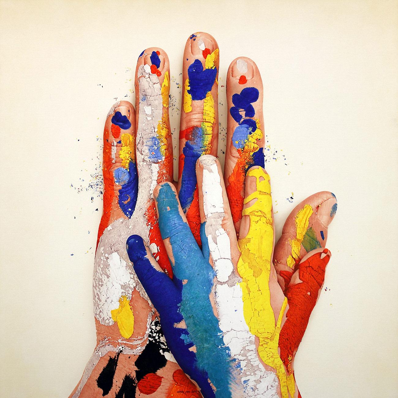 """""""MANS, 2016, 02"""" 2016 Acrílico, óleo y polvo de marmol s/tela 150 x 150 cm"""